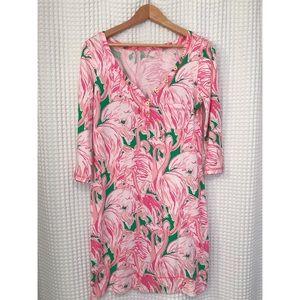 EUC Lilly Pulitzer v neck flamingo Palmetto dress